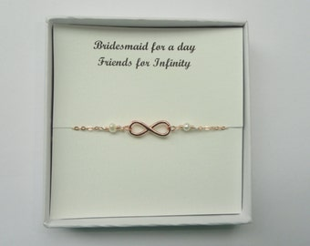 Bridesmaid gift, Rose gold, Silver, Gold Infinity pearl bracelet, Bridesmaid gift, Infinity pearl bracelet, Friendship gift