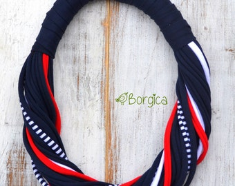 Nautical Chunky Multistrand recycled fabric jewelry upcycled fiber necklace tshirt necklace
