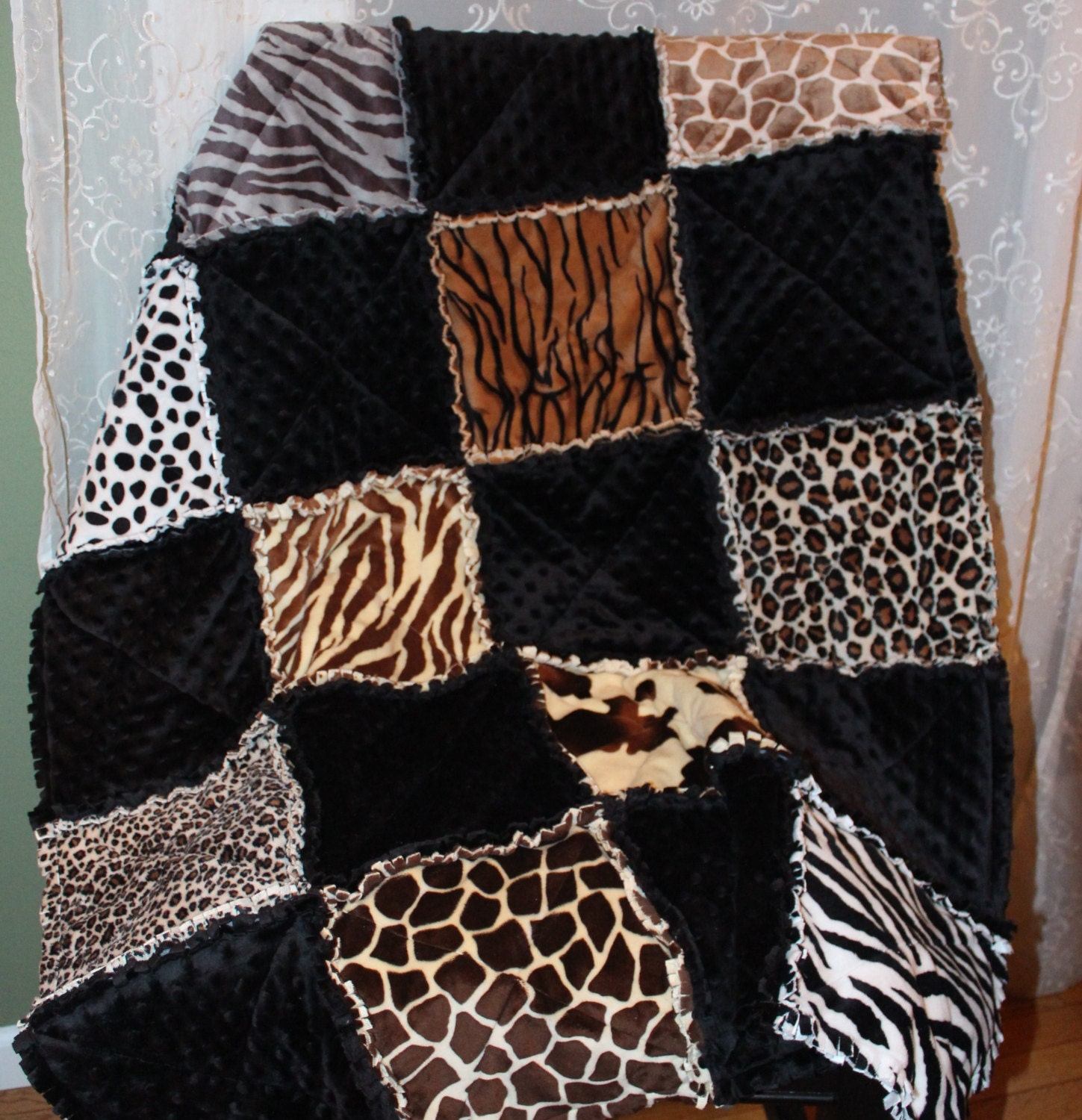 Rag Quilt Animal Patterns : Animal Print rag quilt toddler quilt soft minky and Cuddle