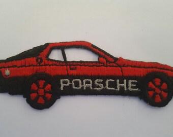 Vintage 1980's die cut Porsche 944 embroidered patch