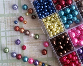 Painted Glass Pearl Beads! Bead Box Set / Kit 018 * 15 colors * 3 sizes * 475 pieces *