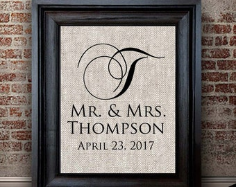Newly Married Gift | Classic Modern Monogram Print | Perfect Personalized Wedding Gift | Cotton Anniversary Gift for Her | Gift for Couple