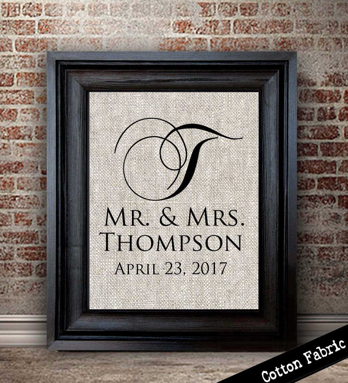 Contemporary Wedding Gifts: Newly Married Gift Classic Modern Monogram Print Perfect