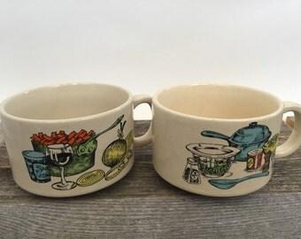 Vintage Soup Mugs, Soup Cups Bowls