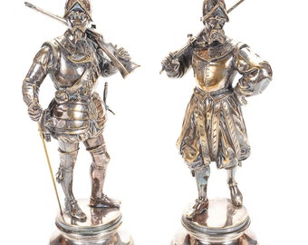 Pair of Antique Silvered Bronze Sculpture of Armed Conquistadors by E. Guillermin