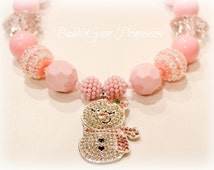 Christmas winter Major SPARKLE Chunky BubbleGum bead necklace rhinestone snowgal snowman pendant pink girls Jewelry