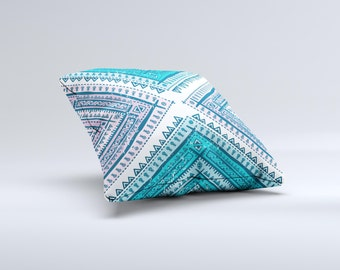 The Ethnic Aztec Blue and Pink Point ink-Fuzed Decorative Throw Pillow