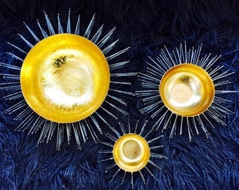 """Chic """"Sea Urchin"""" Spiked Metal Bowls with Real Gold Leafing."""