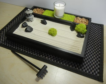 M-Deluxe Medium Zen Garden with Candle and Pagoda Lantern - DIY Kit