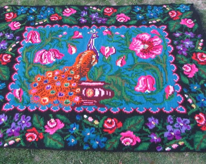 Bessarabian Kilim & area rugs. Moldova/ Vintage Moldovan Kilim, handmade carpet. Floral Rugs Carpets. Vintage handwoven wool rug carpet.