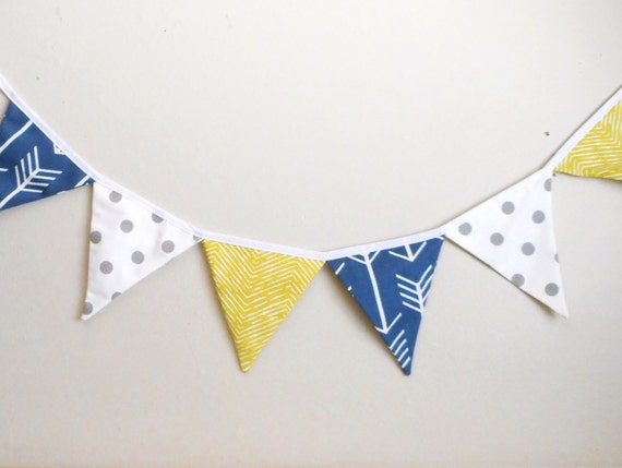 Navy and green Bunting - Fabric Banner - Party Banner -  Photo Prop - Boys Bunting - Navy Arrows Bunting - Party Decoration - Navy and Green
