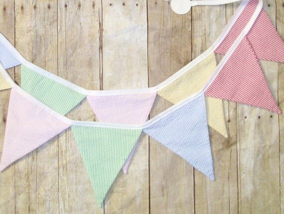 party bunting - pastel banner - seersucker party garland - birthday photo prop - Eco-friendly bunting- stripe bunting - wedding decoration