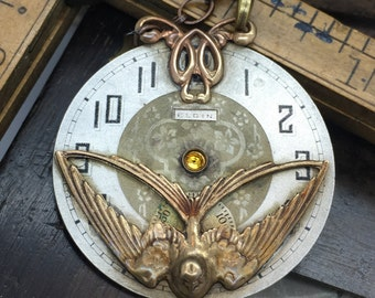 Steampunk sparrow - Steampunk necklace- swallow pocket watch Handcrafted artistic jewelry -The Victorian Magpie
