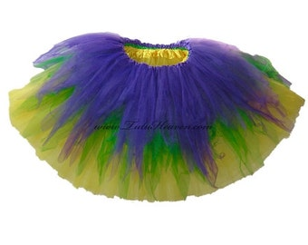 MARDI GRAS Tutu . READY to Ship . Girls to Adult Plus Size . Shredded Tutu . Purple . Yellow . Green . Long Length up to 16in