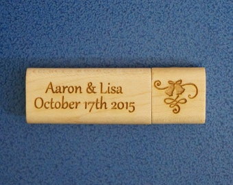 8GB Wedding Photo Personalized Wooden USB Flash Drive Ideal for Photography Business Promotion or a Special Occasion Gift