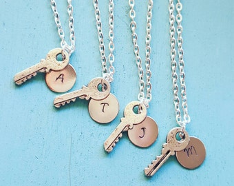 Bridesmaids Necklace Set of 4 with Antique Colored Key and Initial - Bridesmaid Jewelry