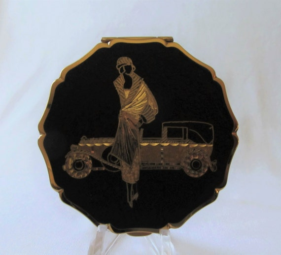 Stratton Flapper Rolls Royce Compact Hand Engraved Art Deco