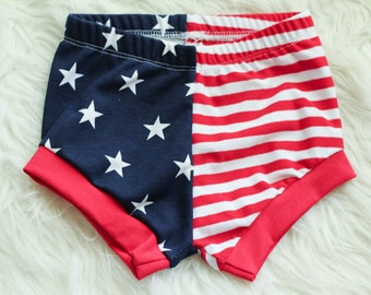 American Flag Shortie Shorts Baby Toddler Patriotic