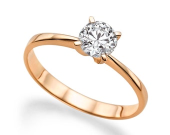 Solitaire White Sapphire Engagement Ring 14K Rose Gold 1 ct Classic Solitaire Classic Solitare Engagement Ring