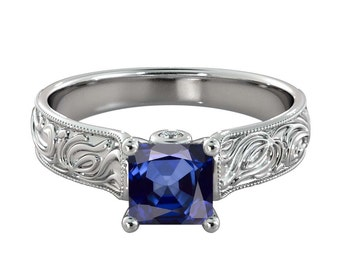 2.06 ctw Blue Sapphire Engagement Ring with Diamonds 14K White Gold Filigree Cathedral Radiant