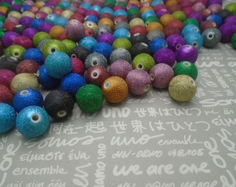500pcs mixed color plastic resin round ball shiny beads with 2mm diameter hole , 15mm diameter bead , BW54