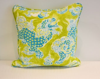 Turquoise and Chartreuse Linen Dragon Pillow COVER ONLY
