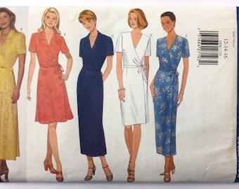 Butterick Sewing Pattern 5458, Misses Sizes 12-14-16, UNCUT - 1998 Misses Dress, 90s Wrap Dress, Wrap Around Dress, Sundress, Wrap Dress