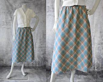 Vintage 1970s Skirt, Wool Plaid Skirt, Pastel Skirt, Blue Plaid Skirt, Spring Skirt, Calf Length Skirt, Maybro Skirt, Librarian Skirt