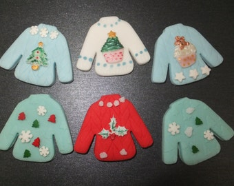 6 x Edible fondant ugly Christmas Sweater jumper cupcake toppers cake decorations (2)