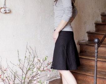 Linen A-line skirt, Knee length Spring skirt, Eco friendly linen