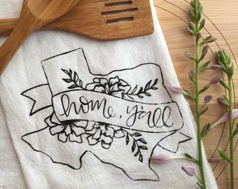 Texas Tea Towel, Handlettered Y'all Decor, Southern Flour Sack Towel, Texas Kitchen Decor, Hand Drawn, Black and White Southern Decor