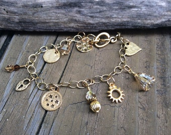 Gold Charm Bracelet, Gold Wrist Bling, Swarovski Crystals in Golden Shadow, Gold Bracelet, Charms Bracelet, Gold Bling