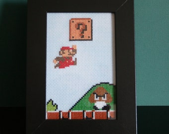 Super Mario framed cross stitch