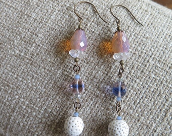 pink and blue earrings, long earrings, pastel earrings, pastel jewelry, rose and periwinkle earrings, glass earrings, long blue earrings