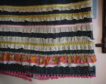Size 6 French Cuff denim skirt embellished with 12 trims/ribbons