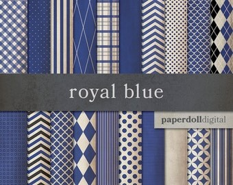 Royal Blue Digital Paper - Chevron Digital Paper - Distressed Digital Paper - Plaid Digital Paper - Instant Download - 20 Sheets