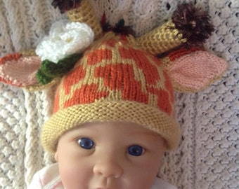 Knit Baby Giraffe Hat