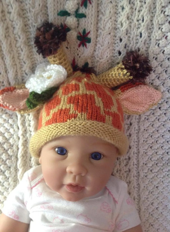 Baby Giraffe Hat Knitting Pattern : Knit Baby Giraffe Hat