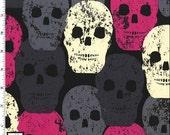 SKULL OF ROCK - Skulls Out Fabric Pink Fuschia Grey Black Michael Miller Fabrics 100% Cotton