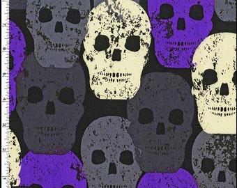 SKULL OF ROCK - Skulls Out Fabric Purple Grey Black Michael Miller Fabrics 100% Cotton