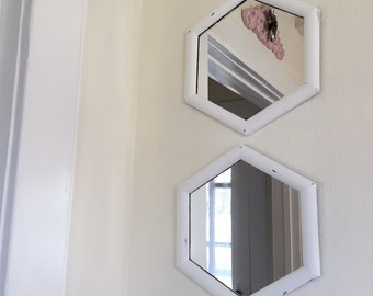 Mirrors set of 2, white distressed wood, accent mirrors