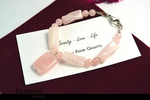 "ROSE QUARTZ BRACELET - Natural Pink Pendant and Polished Genuine Beads - Fits Wrist of Up to 5.8"""