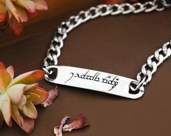 I Love You Elvish Bracelet Stainless Steel Promise, Engagement Jewelry Elvish Jewelry Couple Bracelet Fantasy Gift