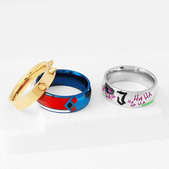 Jokerley set ring harley joker stainless steel ring harley for Harley quinn and joker jewelry