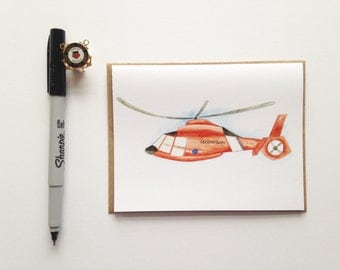 Greeting Card // USCG MH65 Dolphin Card // Coast Guard Helicopter // Aviation // Military Cards // Semper Paratus
