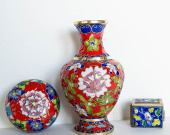 Vintage Cloisonne Small Vase and Trinkets