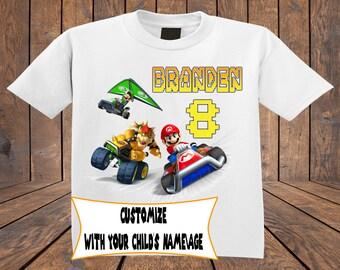 Mario Kart Front Printed ~ Personalized Birthday shirt ~ custom tshirt