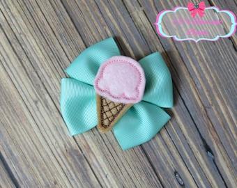 Ice Cream Hair Bow - Hair bow - Accessories - Handmade - Boutique - Girls Kids Children Babies - Mint Pink Summer Hair Bow
