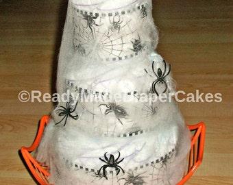 halloween spider web 3 tier diaper cake orange and black themed baby
