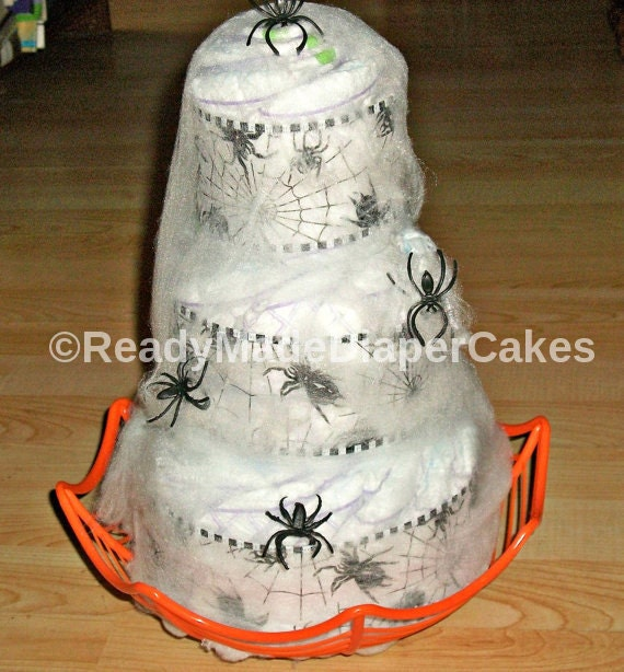 Items Similar To Halloween Spider Web 3 Tier Diaper Cake Orange And Black Themed Baby Shower
